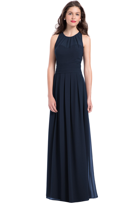 Bill Levkoff NAVY Chiffon Jewel A-line gown, $220.00 Front