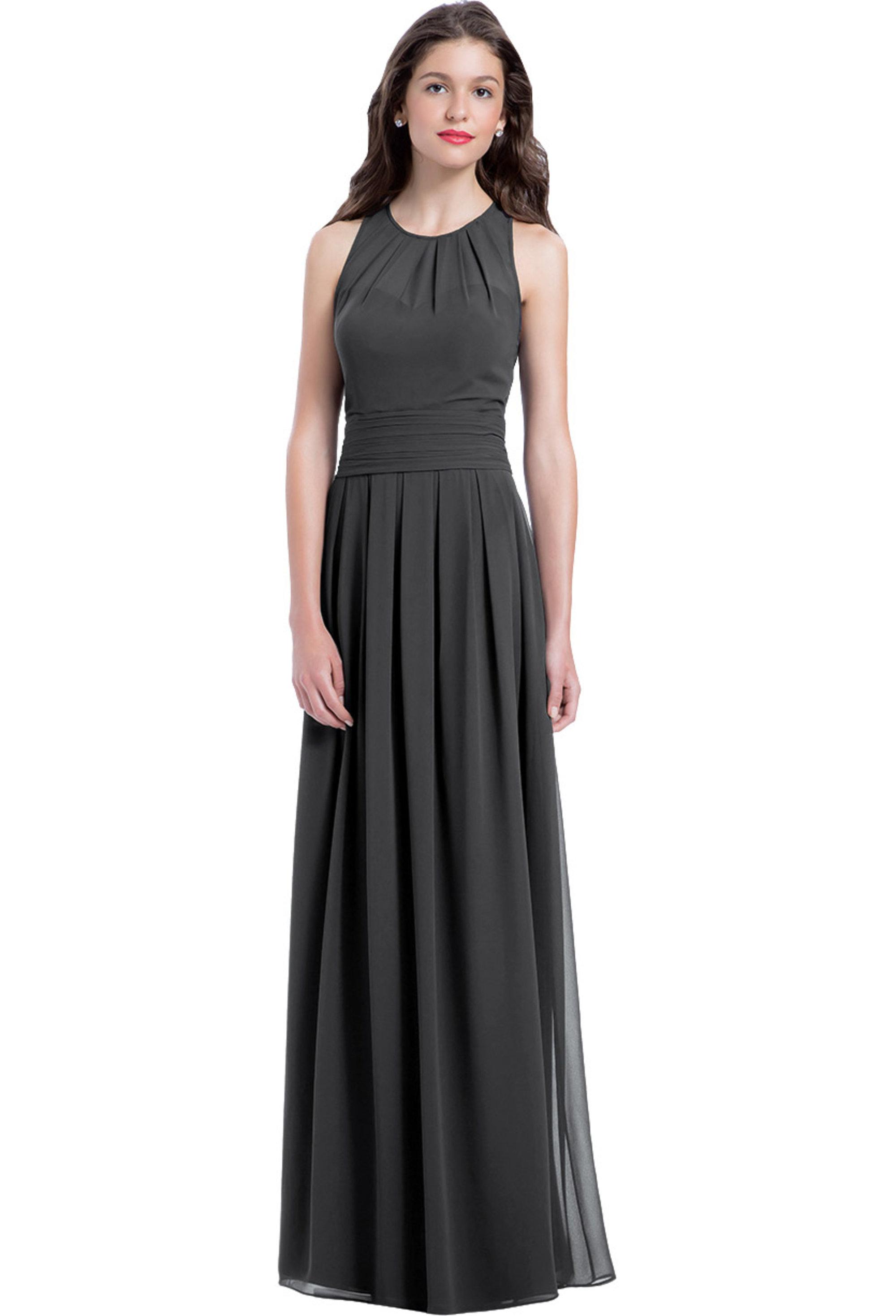 Bill Levkoff CHARCOAL Chiffon Jewel A-line gown, $220.00 Front