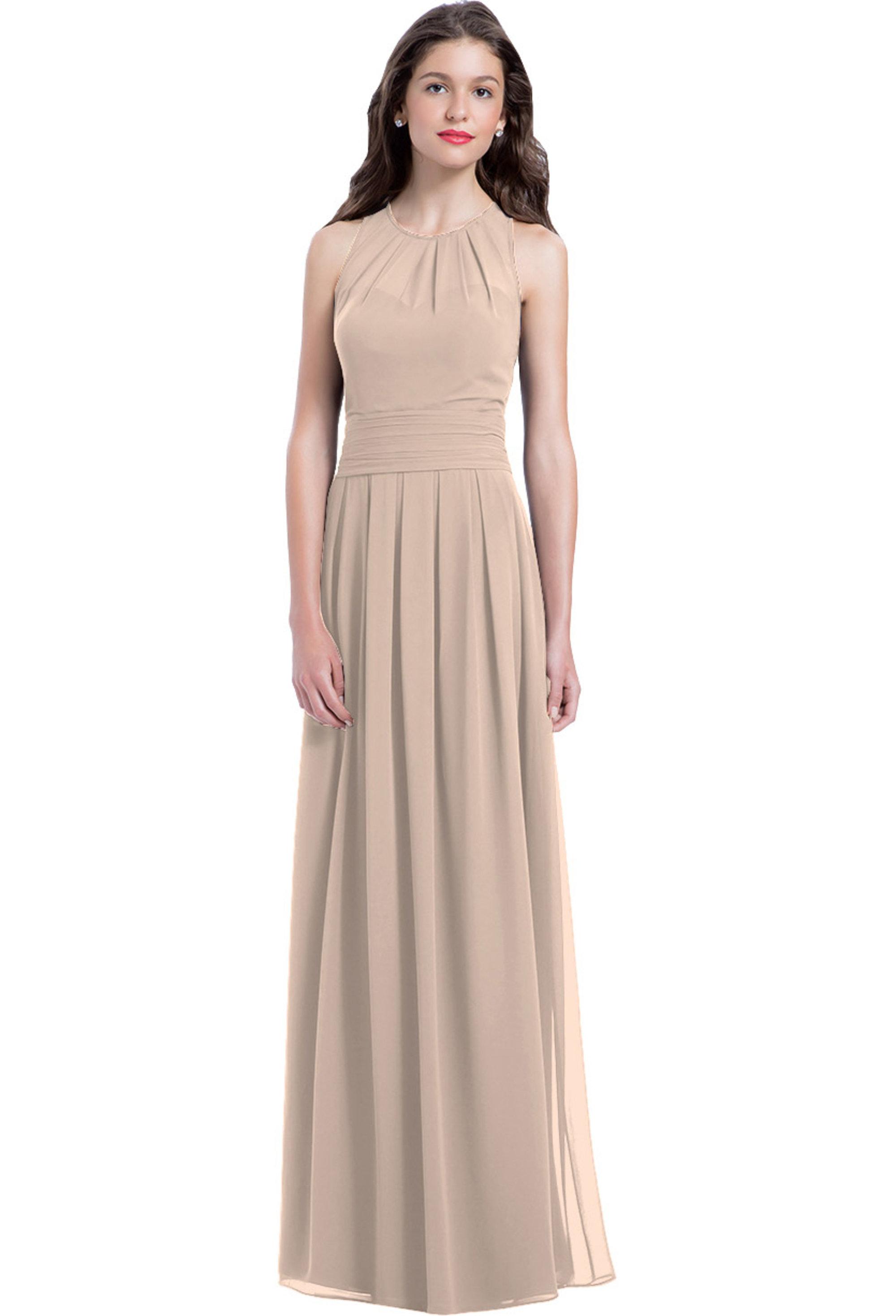 Bill Levkoff SHELL PINK Chiffon Jewel A-line gown, $220.00 Front