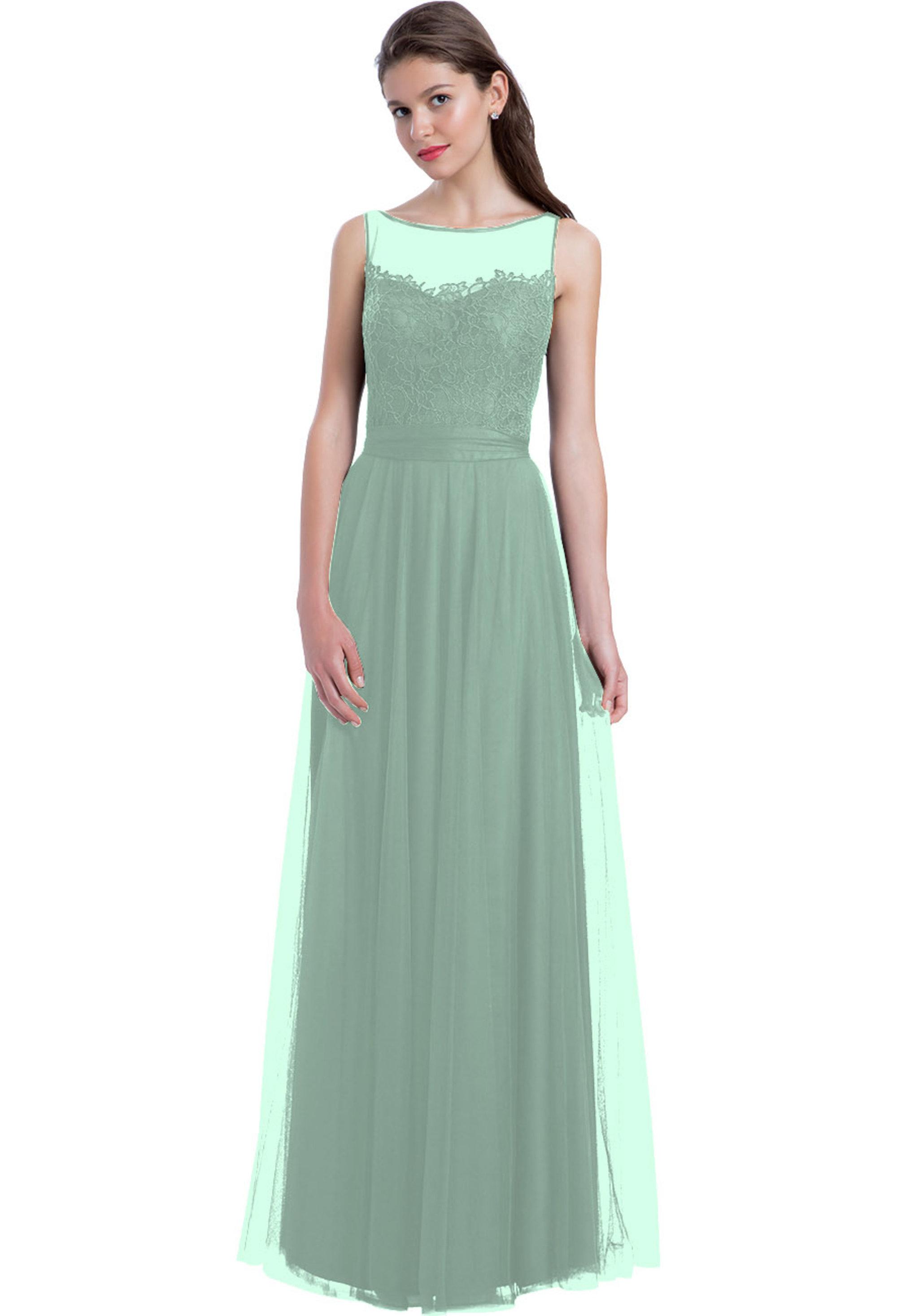 Bill Levkoff MINT English Netting Bateau Neckline A-line gown, $230.00 Front