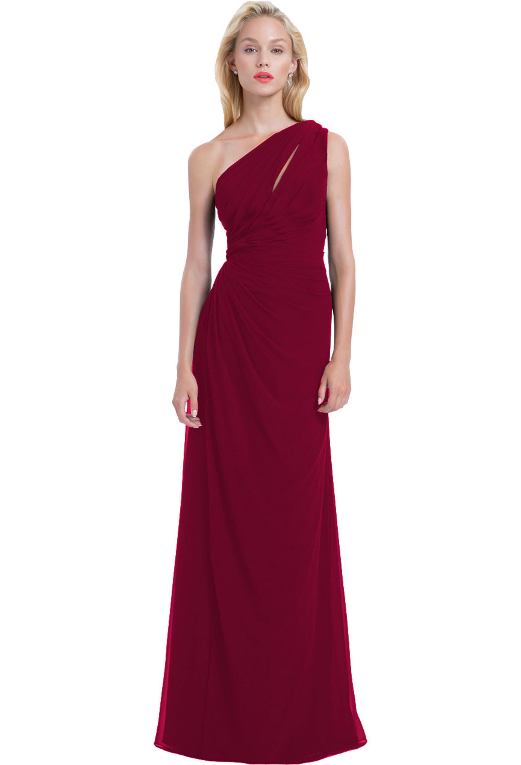 Bill Levkoff CRANBERRY Chiffon Front Cutout Asymmetrical gown, $220.00 Front