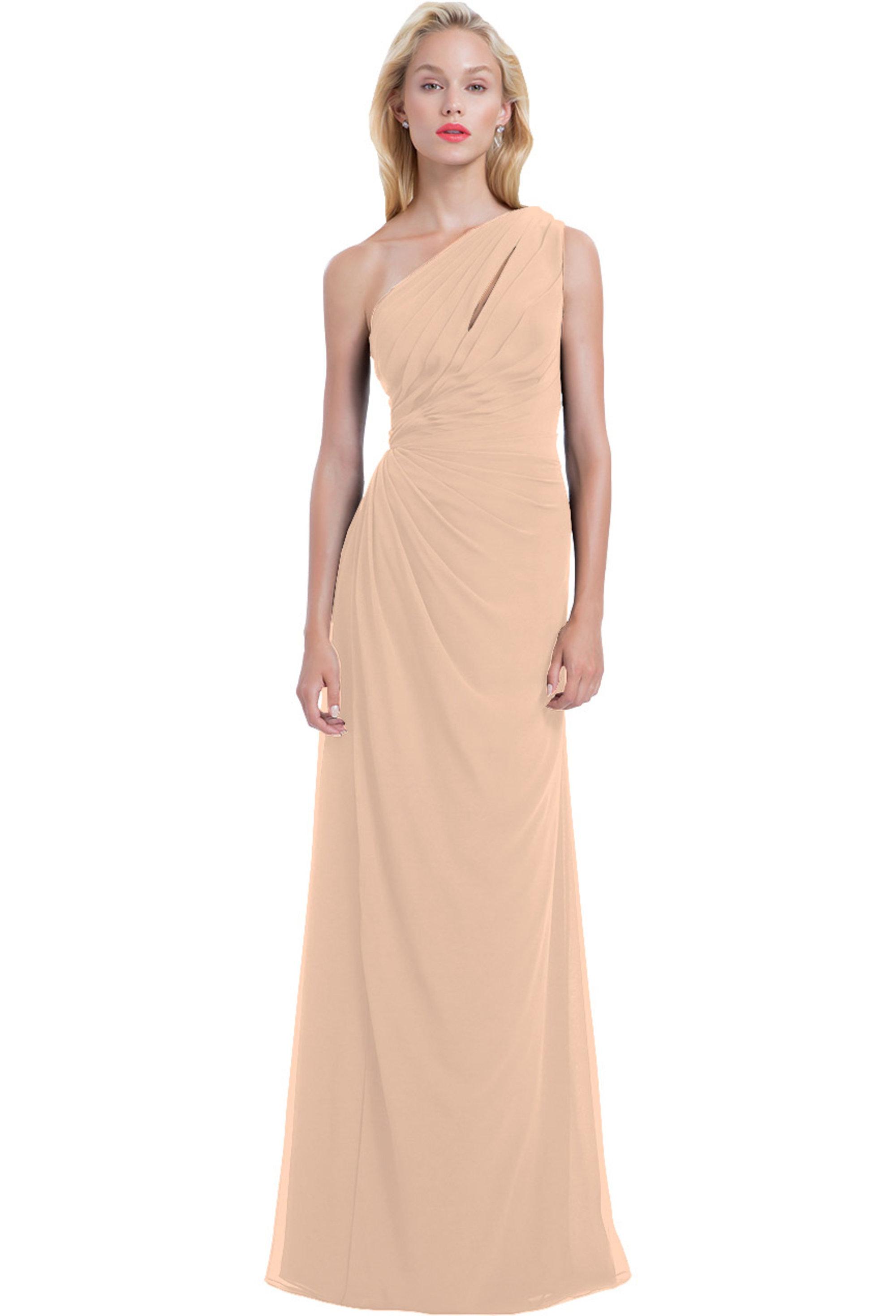 Bill Levkoff SHELL PINK Chiffon Front Cutout Asymmetrical gown, $220.00 Front