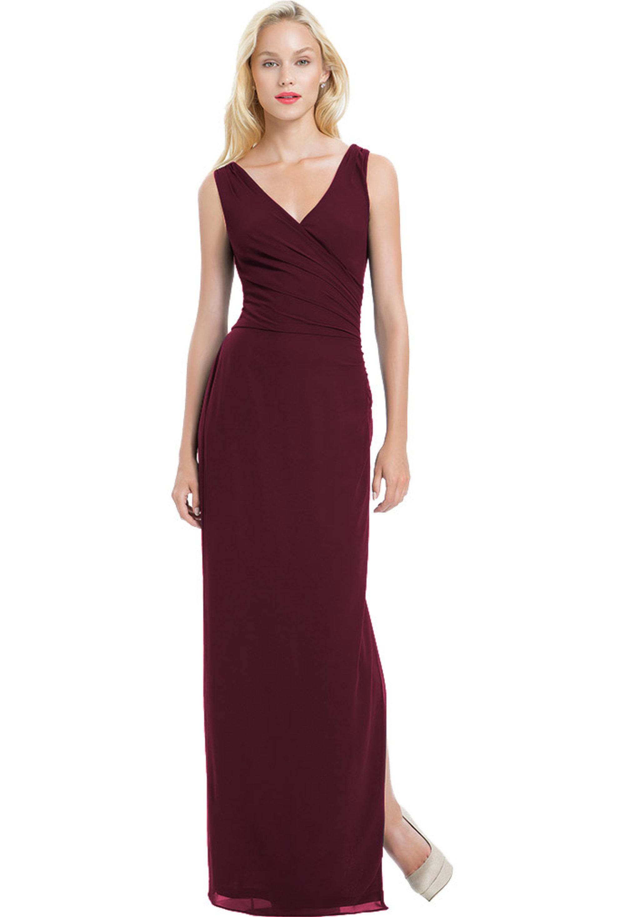 Bill Levkoff WINE Chiffon Sleeveless Side Slit gown, $190.00 Front