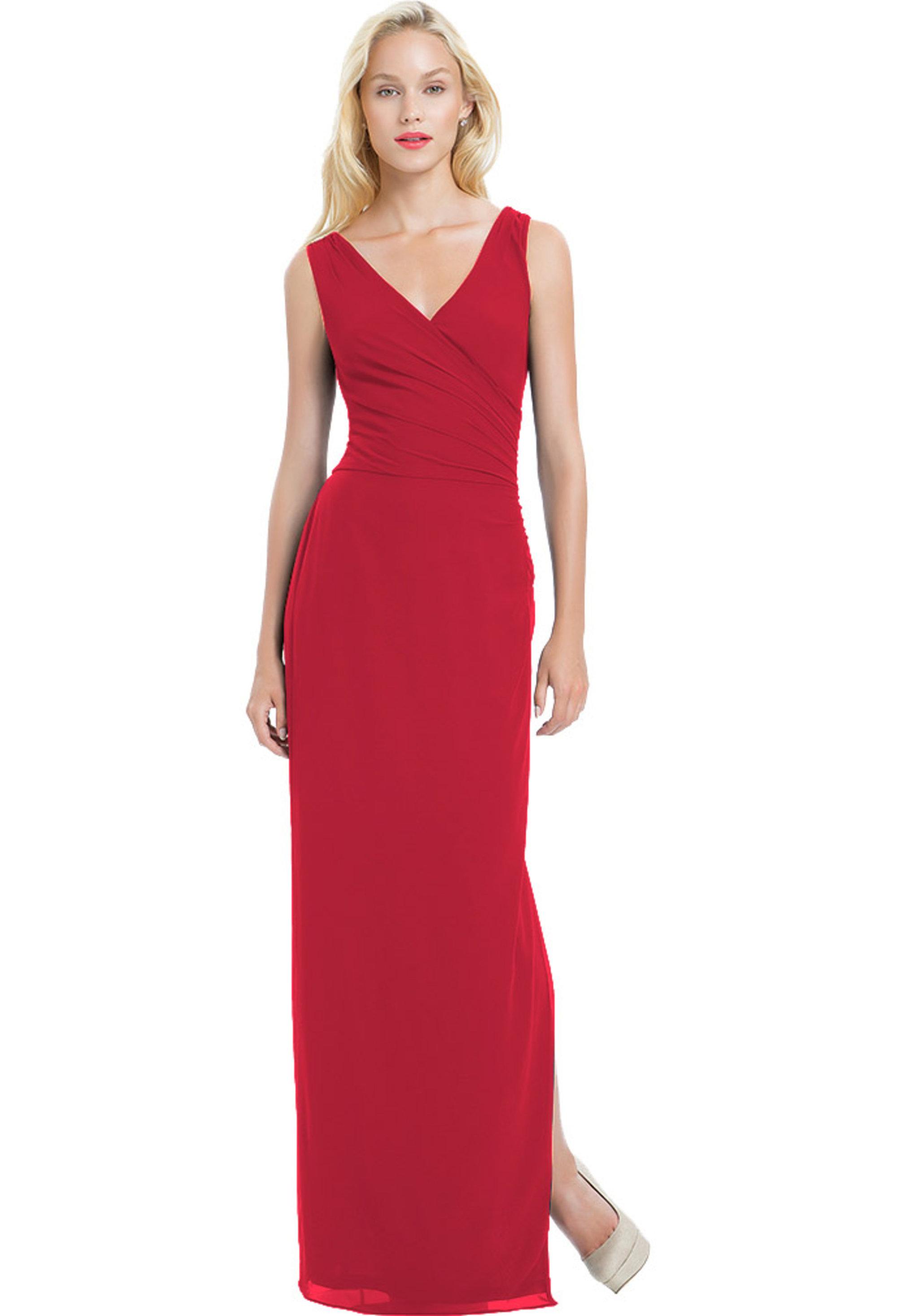 Bill Levkoff CHERRY Chiffon Sleeveless Side Slit gown, $190.00 Front