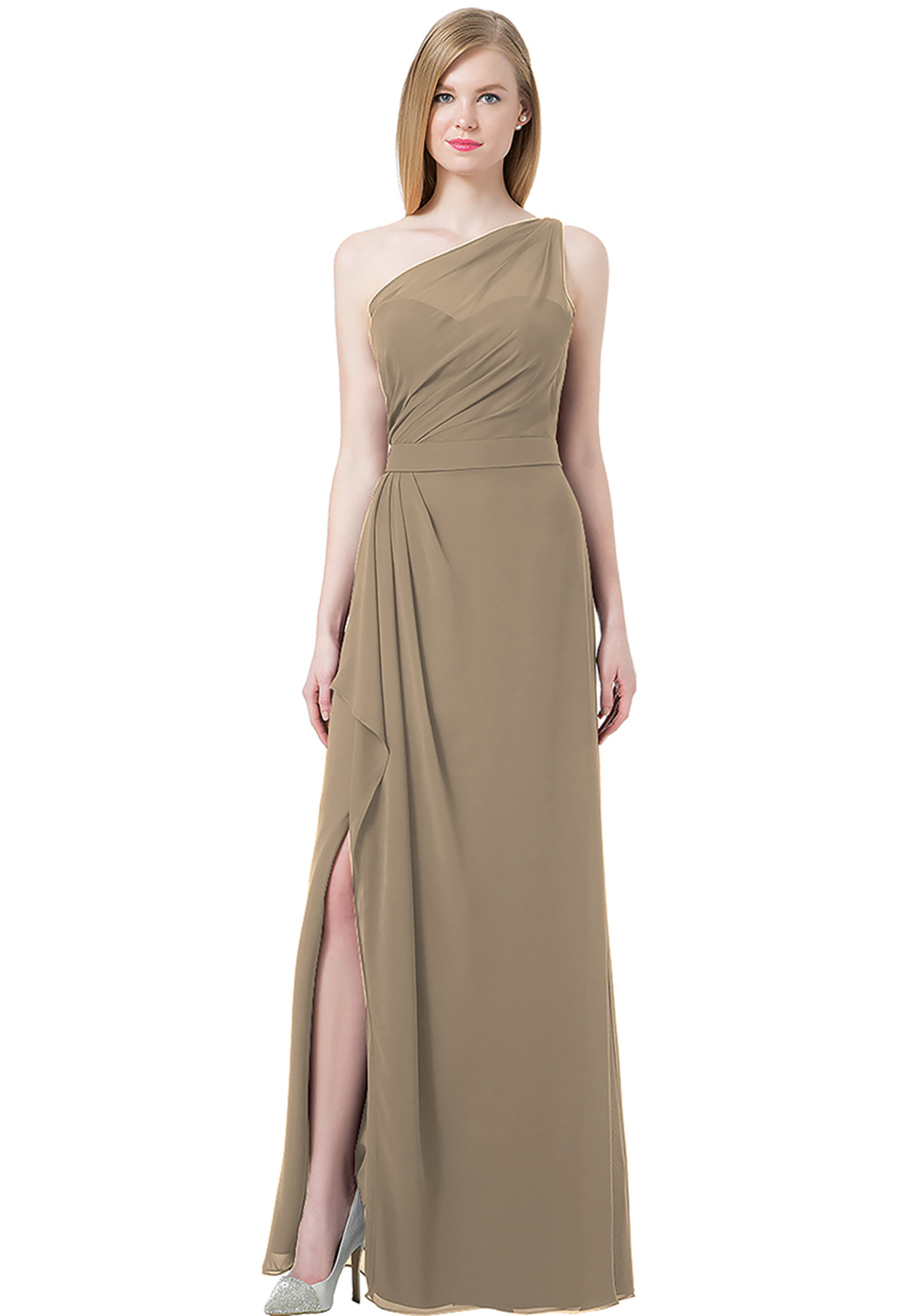 Bill Levkoff Cashmere Chiffon Double Back Spaghetti Strap Side Slit gown, $220.00 Front