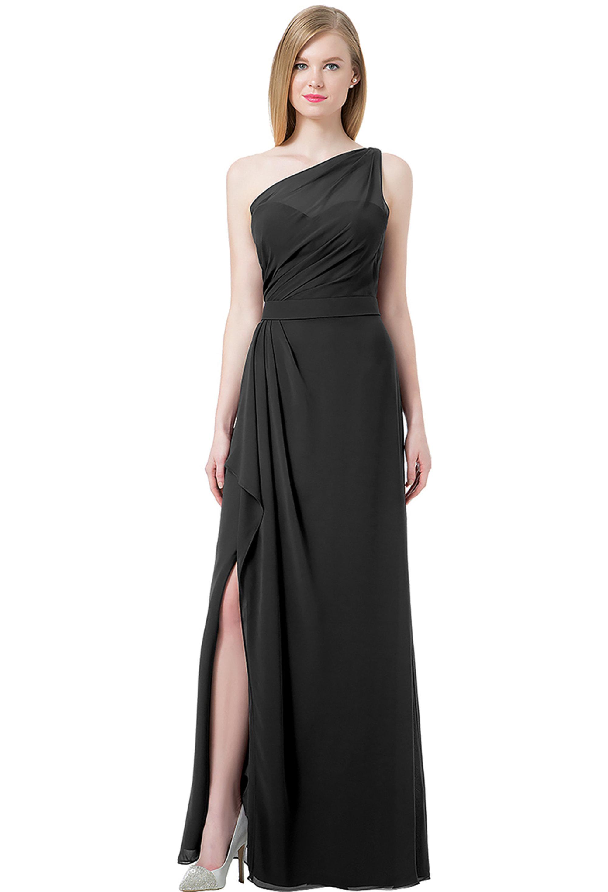 Bill Levkoff Black Chiffon Double Back Spaghetti Strap Side Slit gown, $220.00 Front