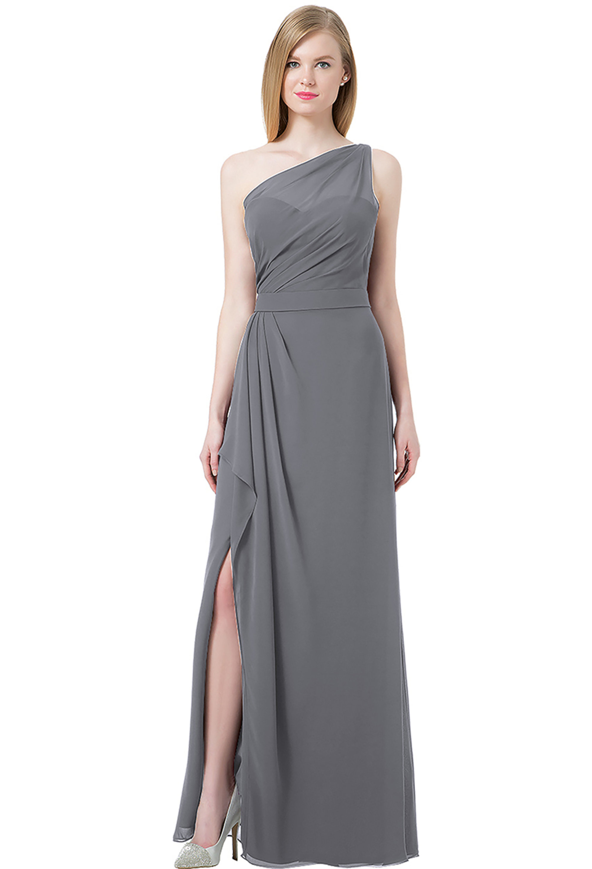 Bill Levkoff PEWTER Chiffon Double Back Spaghetti Strap Side Slit gown, $220.00 Front