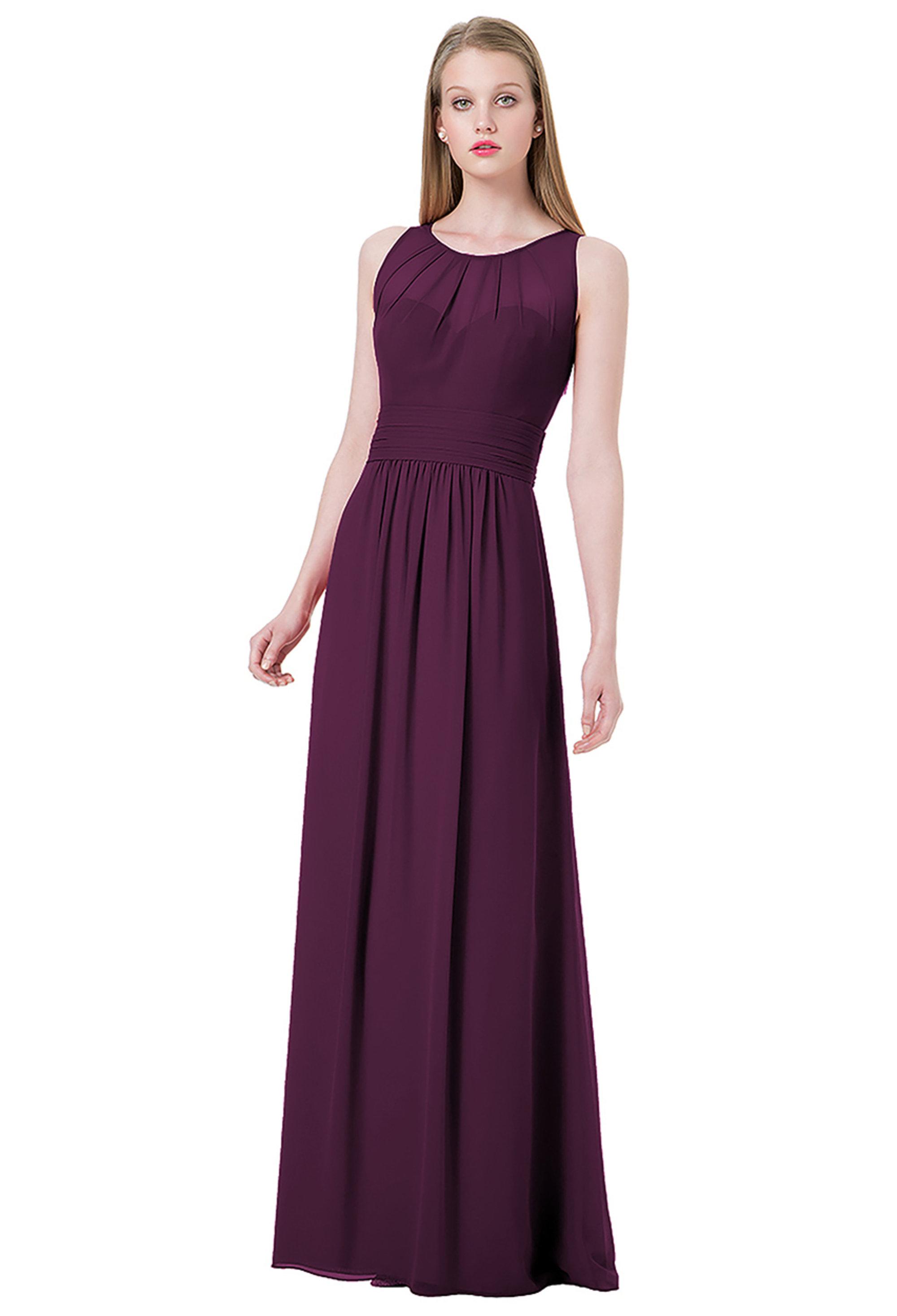 Bill Levkoff EGGPLANT Chiffon Jewel A-line gown, $220.00 Front