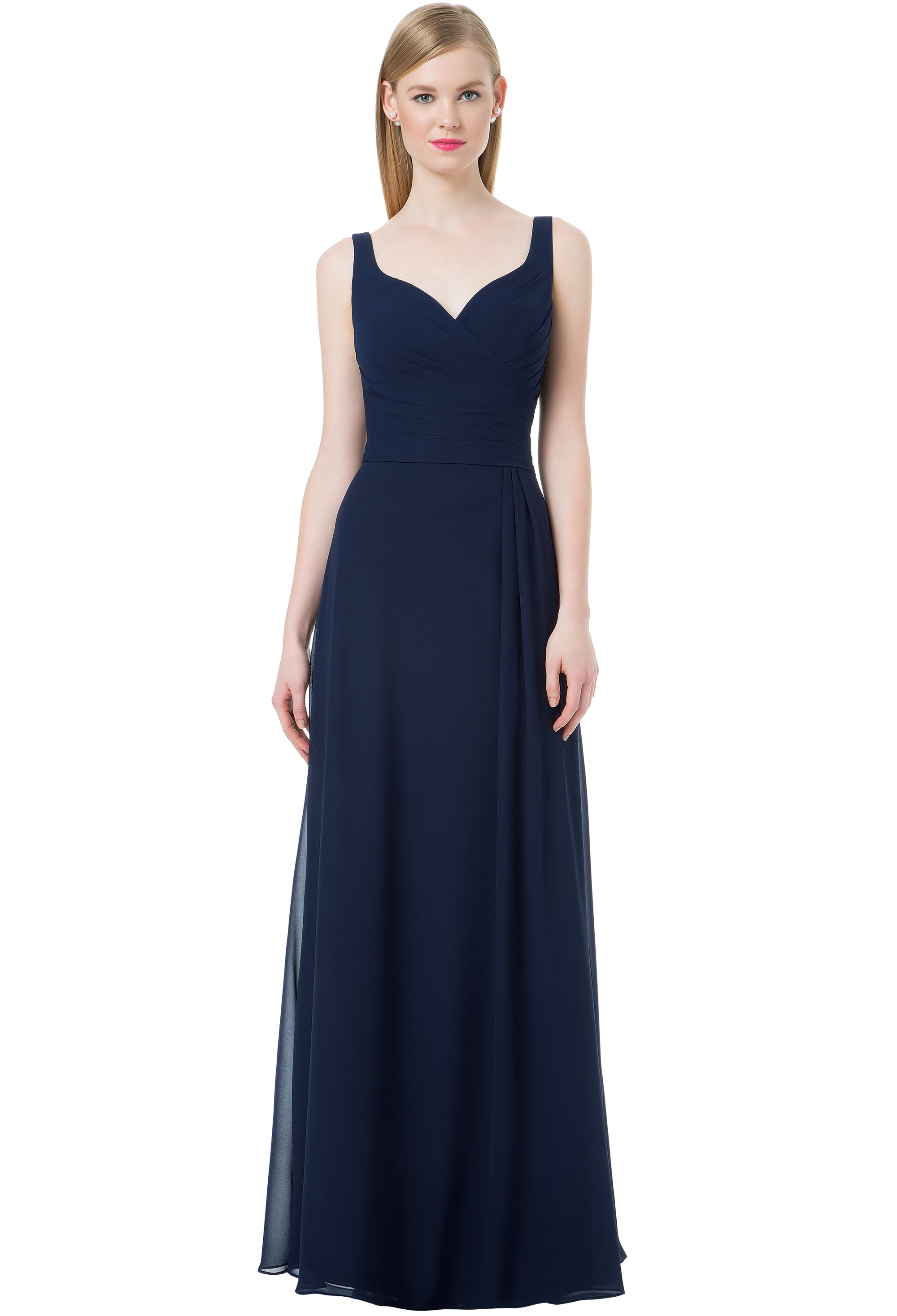 Bill Levkoff NAVY Chiffon Sweetheart A-line gown, $220.00 Front