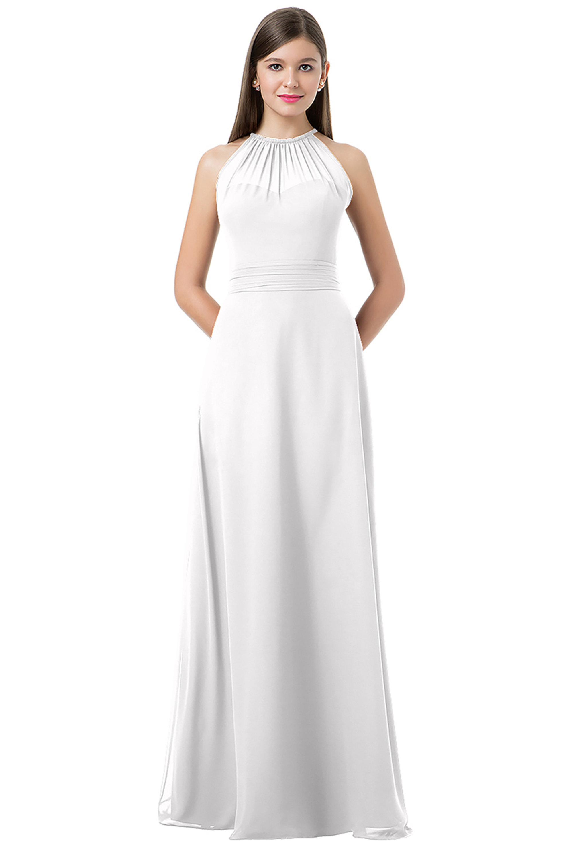 Bill Levkoff WHITE Chiffon Spaghetti Tie A-line gown, $220.00 Front