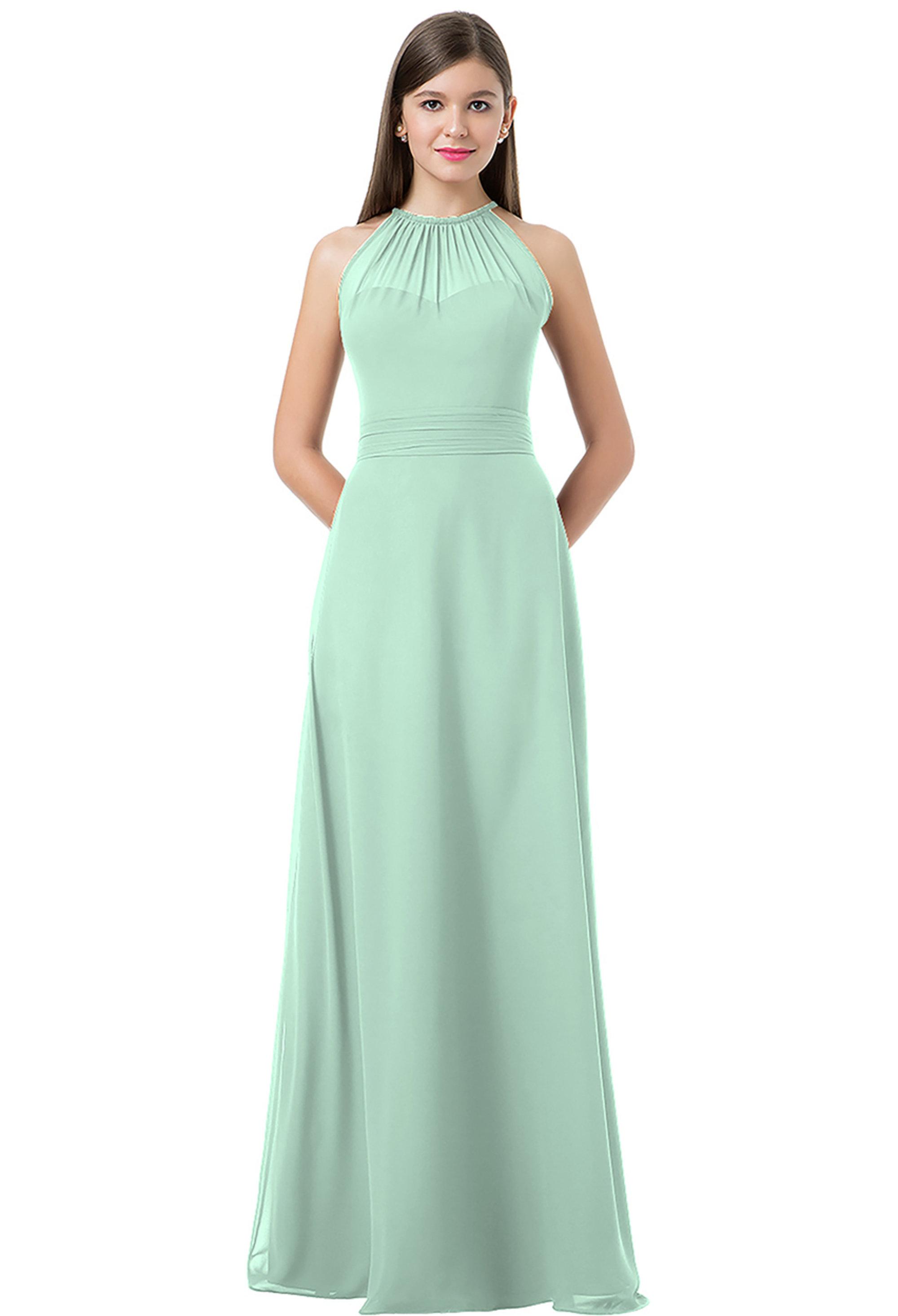 Bill Levkoff MINT Chiffon Spaghetti Tie A-line gown, $220.00 Front