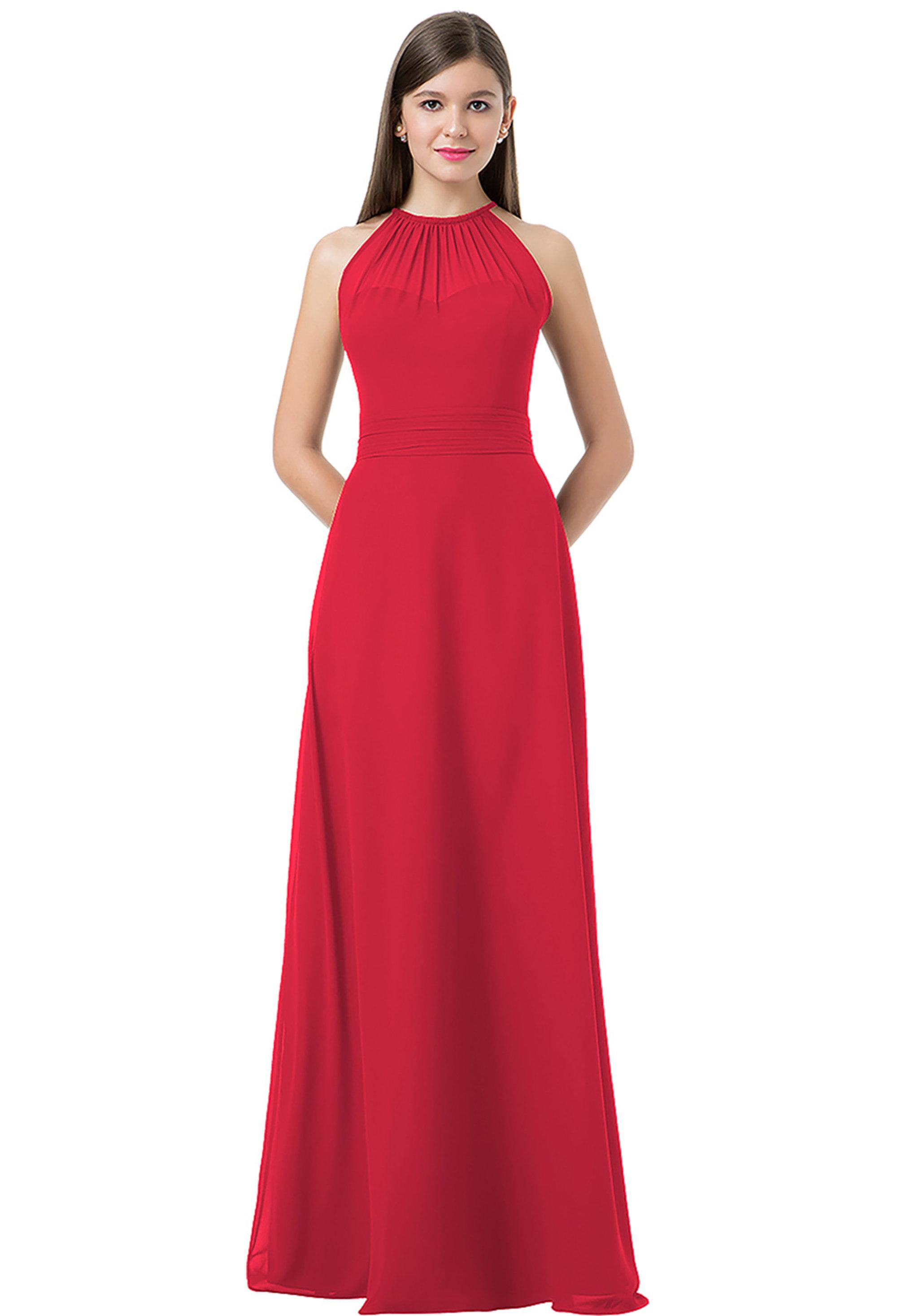 Bill Levkoff CHERRY Chiffon Spaghetti Tie A-line gown, $220.00 Front