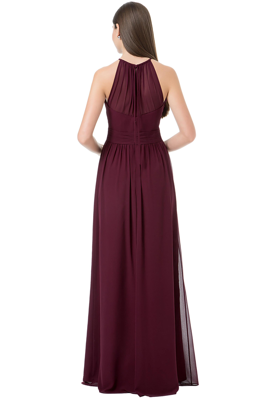 Bill Levkoff DESERT GREY Chiffon Spaghetti Tie A-line gown, $220.00 Back