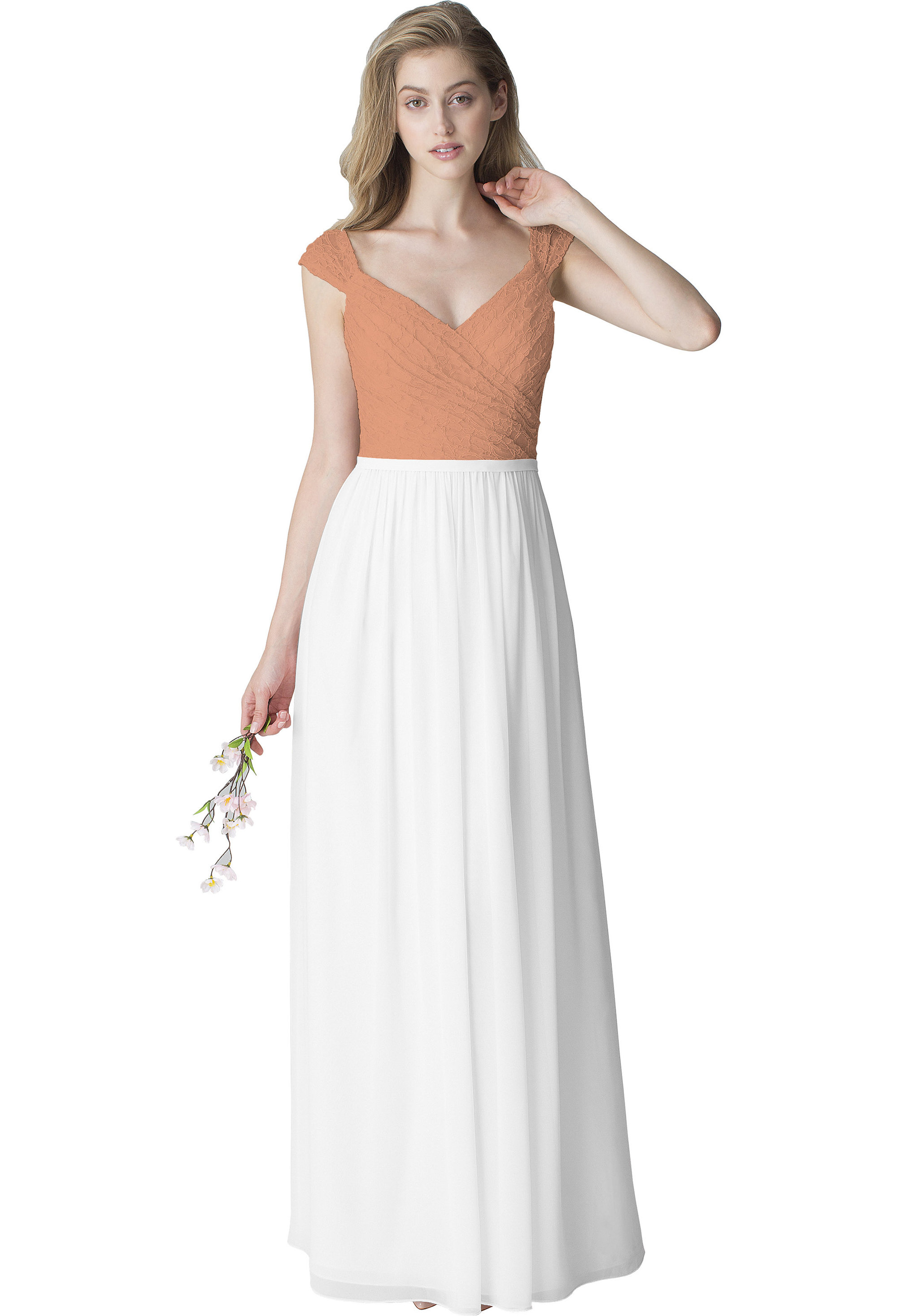Bill Levkoff WHITE Chiffon V-neck Floor Length gown, $220.00 Front