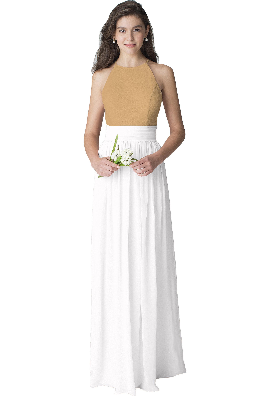 Bill Levkoff WHITE Chiffon Jewel Neckline Natural Waist gown, $187.00 Front