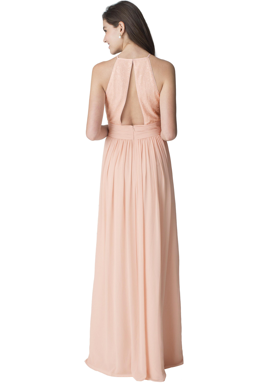 Bill Levkoff WHITE Chiffon Jewel Neckline Natural Waist gown, $187.00 Back
