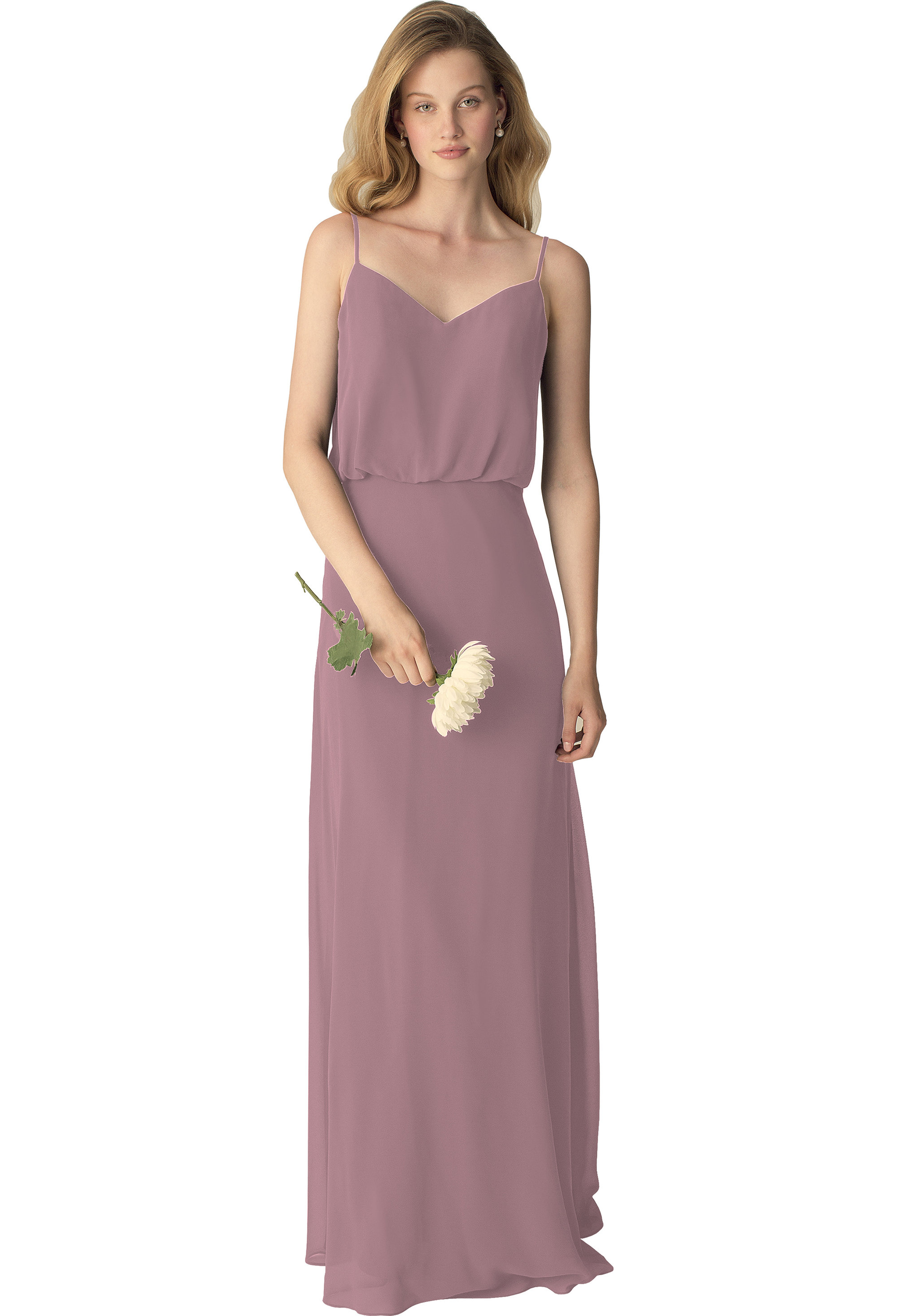 Bill Levkoff WISTERIA Chiffon Slight V-front A-line gown, $190.00 Front