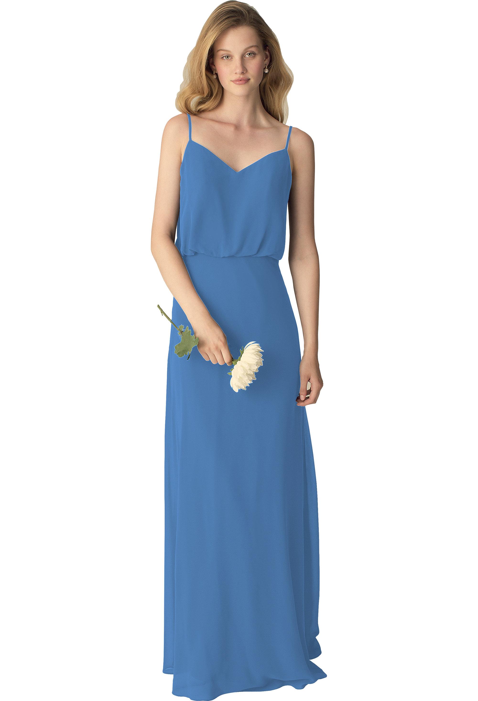 Bill Levkoff CORNFLOWER Chiffon Slight V-front A-line gown, $190.00 Front