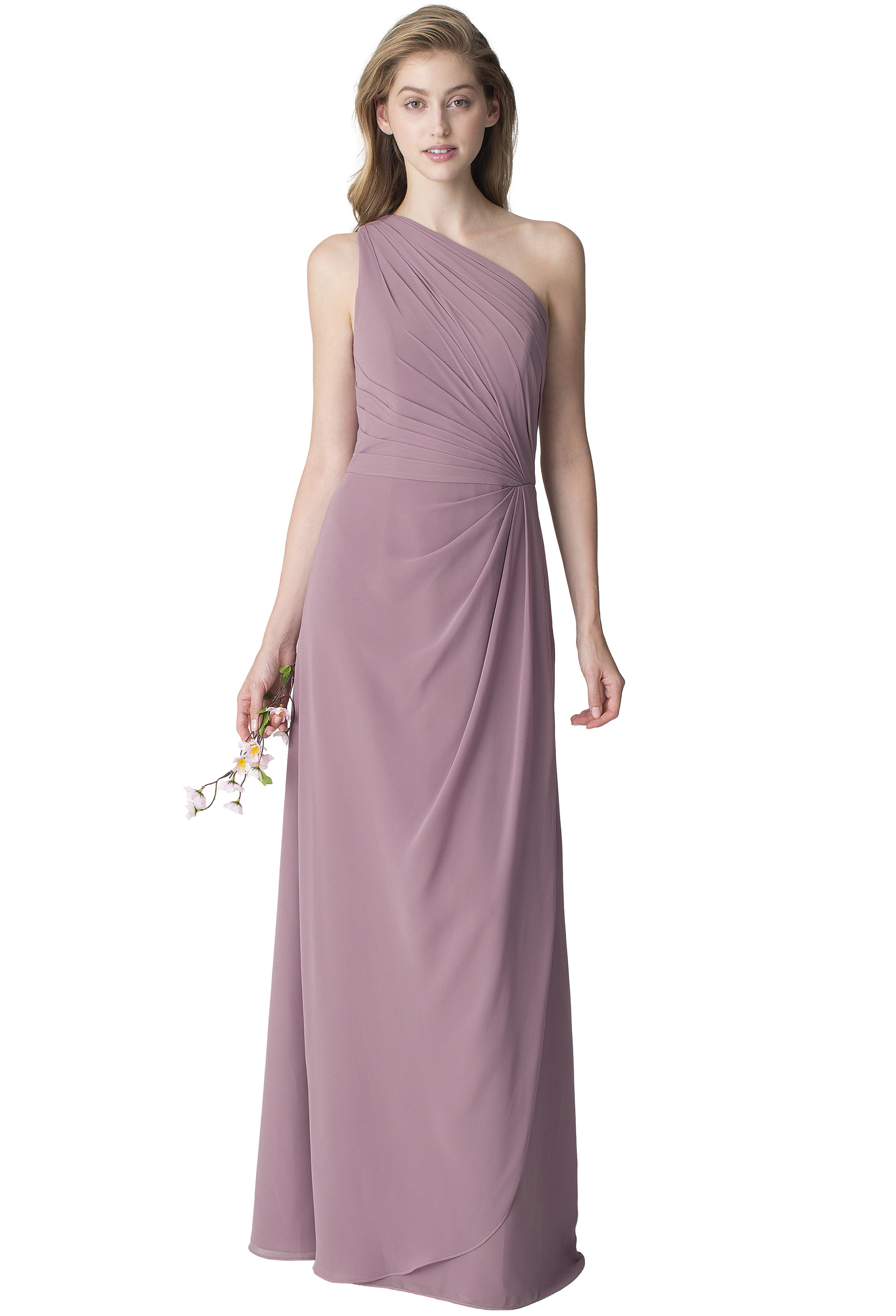 Bill Levkoff WISTERIA Chiffon One Shoulder A-line gown, $210.00 Front