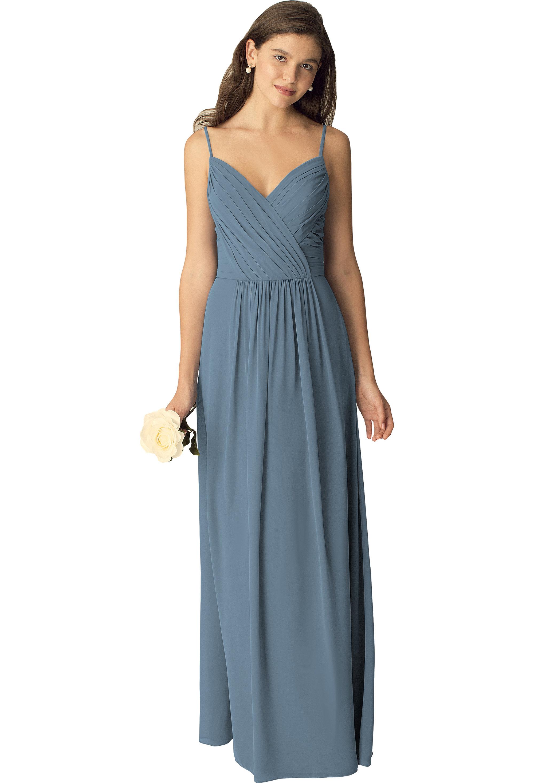 Bill Levkoff SLATE Chiffon Sweetheart A-line gown, $210.00 Front