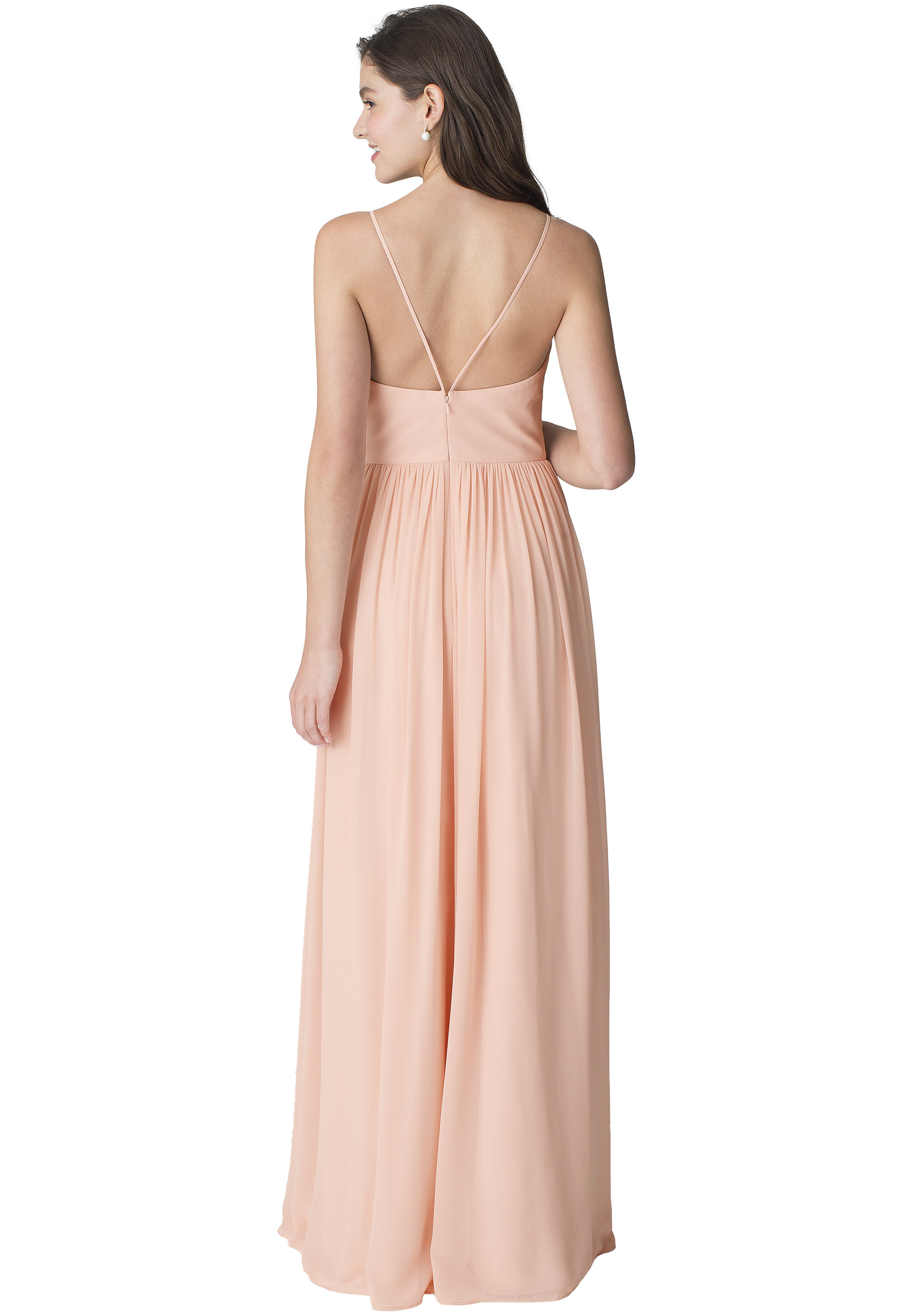 Bill Levkoff SHELL PINK Chiffon Sleeveless A-line gown, $210.00 Back