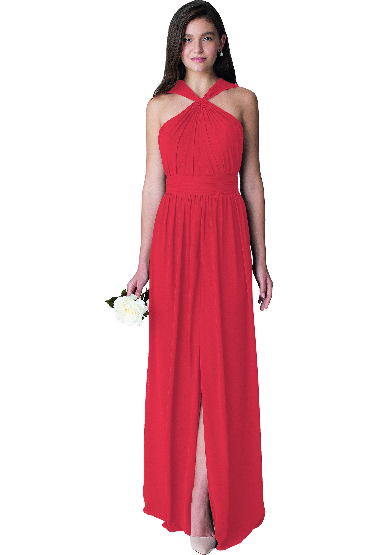Bill Levkoff CHERRY Chiffon Sleeveless A-line gown, $210.00 Front
