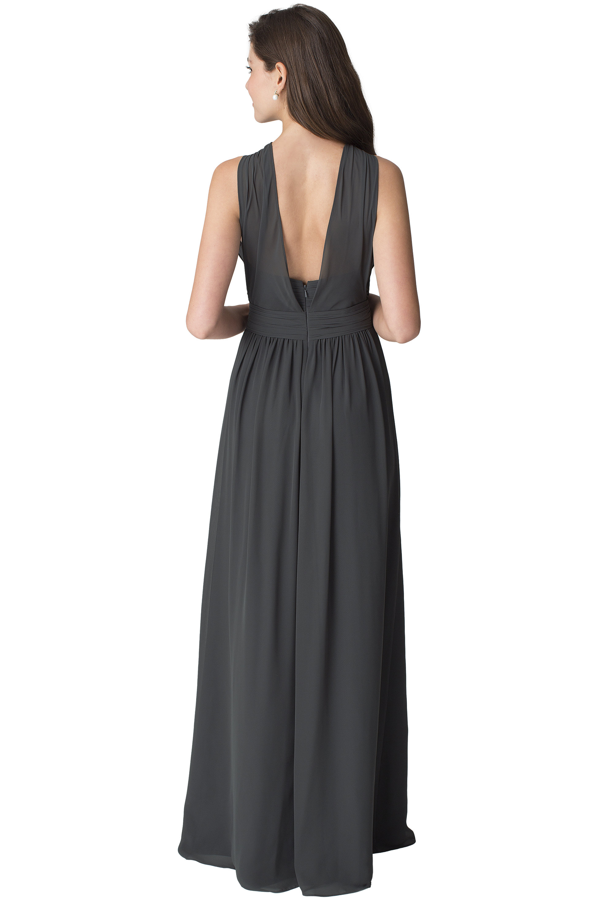Bill Levkoff PEACH Chiffon Sleeveless A-line gown, $210.00 Back