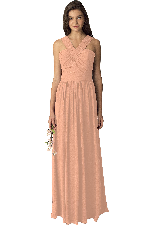 Bill Levkoff PEACH Chiffon Sleeveless A-line gown, $210.00 Front