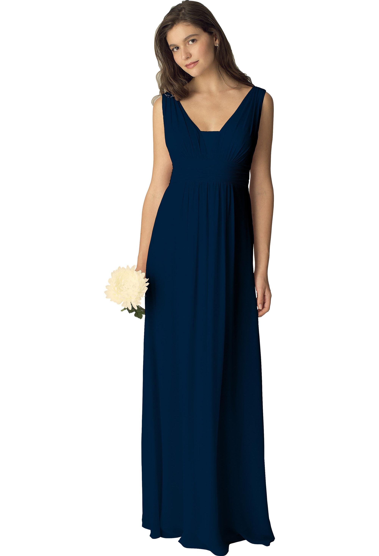 Bill Levkoff NAVY Chiffon Sleeveless A-line gown, $210.00 Front