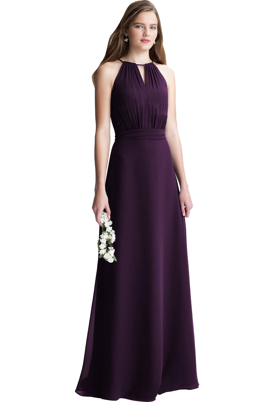Bill Levkoff PLUM Chiffon Keyhole A-line gown, $200.00 Front
