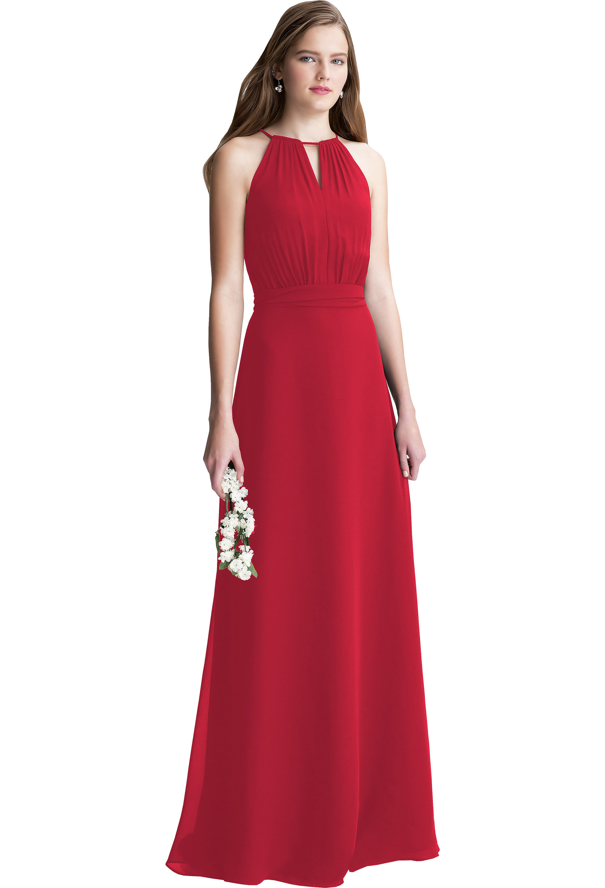 Bill Levkoff CHERRY Chiffon Keyhole A-line gown, $200.00 Front