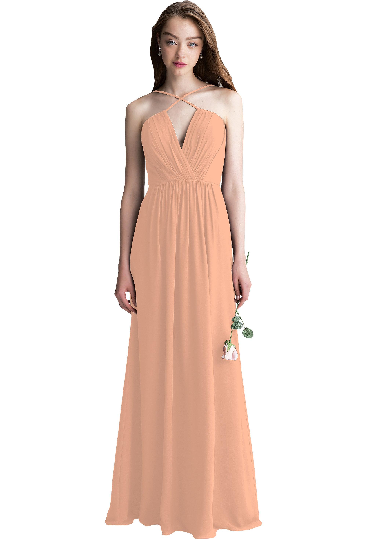 Bill Levkoff PEACH Chiffon V-neck A-line gown, $210.00 Front