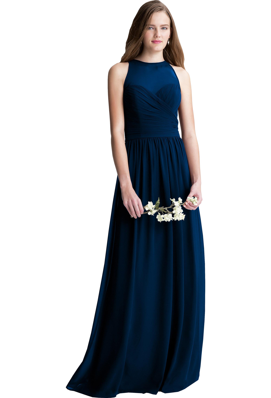 Bill Levkoff NAVY Chiffon Surplice A-line gown, $220.00 Front