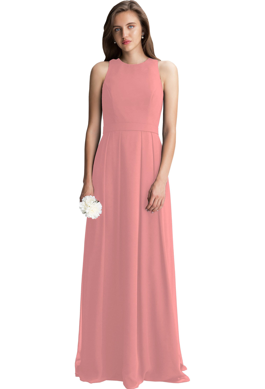 Bill Levkoff CORAL Chiffon Bateau A-line gown, $198.00 Front