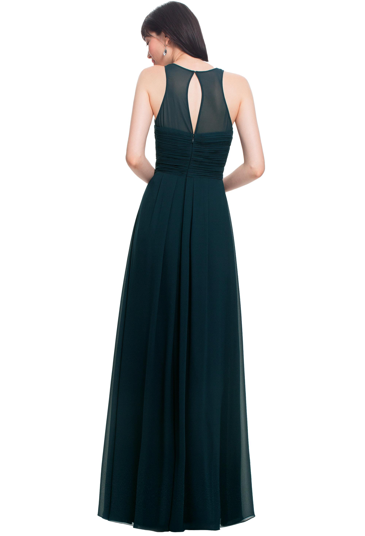 Bill Levkoff PISTACHIO Chiffon Jewel A-line gown, $184.00 Back