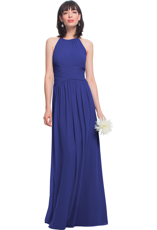 Bill Levkoff MARINE Chiffon Jewel A-line gown, $210.00 Front