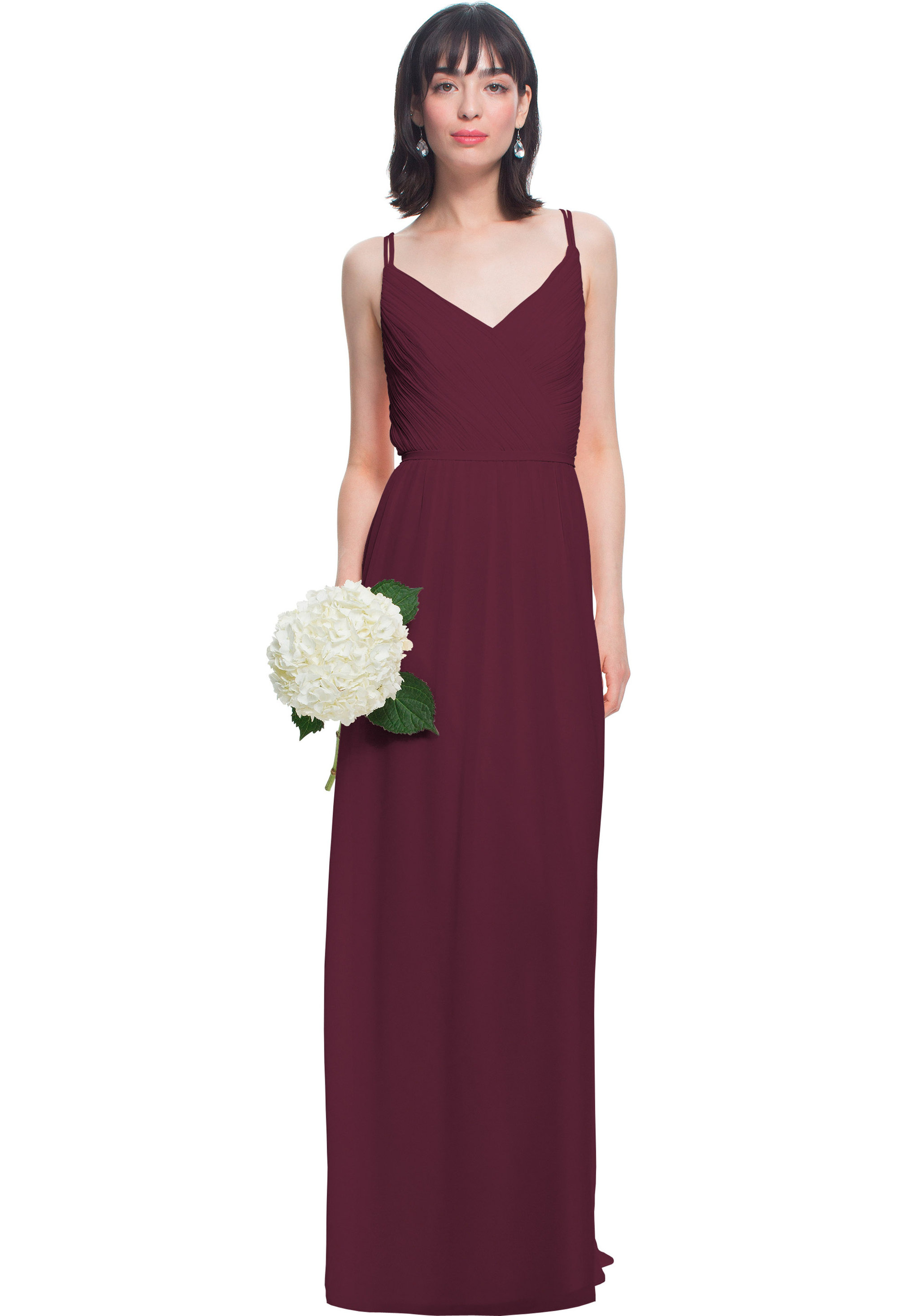 Bill Levkoff WINE Chiffon V-neck A-line gown, $180.00 Front