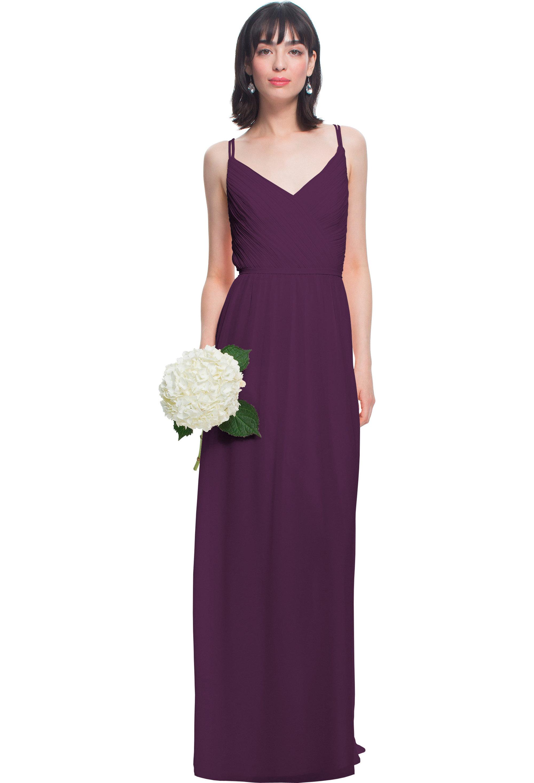 Bill Levkoff EGGPLANT Chiffon V-neck A-line gown, $180.00 Front