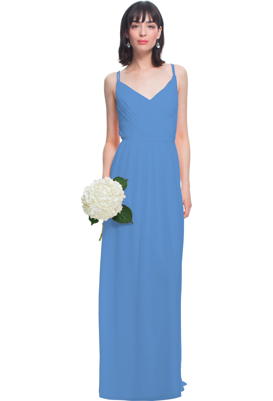 Bill Levkoff CORNFLOWER Chiffon V-neck A-line gown, $180.00 Front