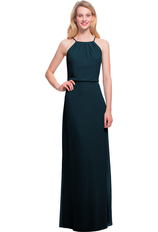 Bill Levkoff NAVY Chiffon Spaghetti Strap A-line gown, $180.00 Front