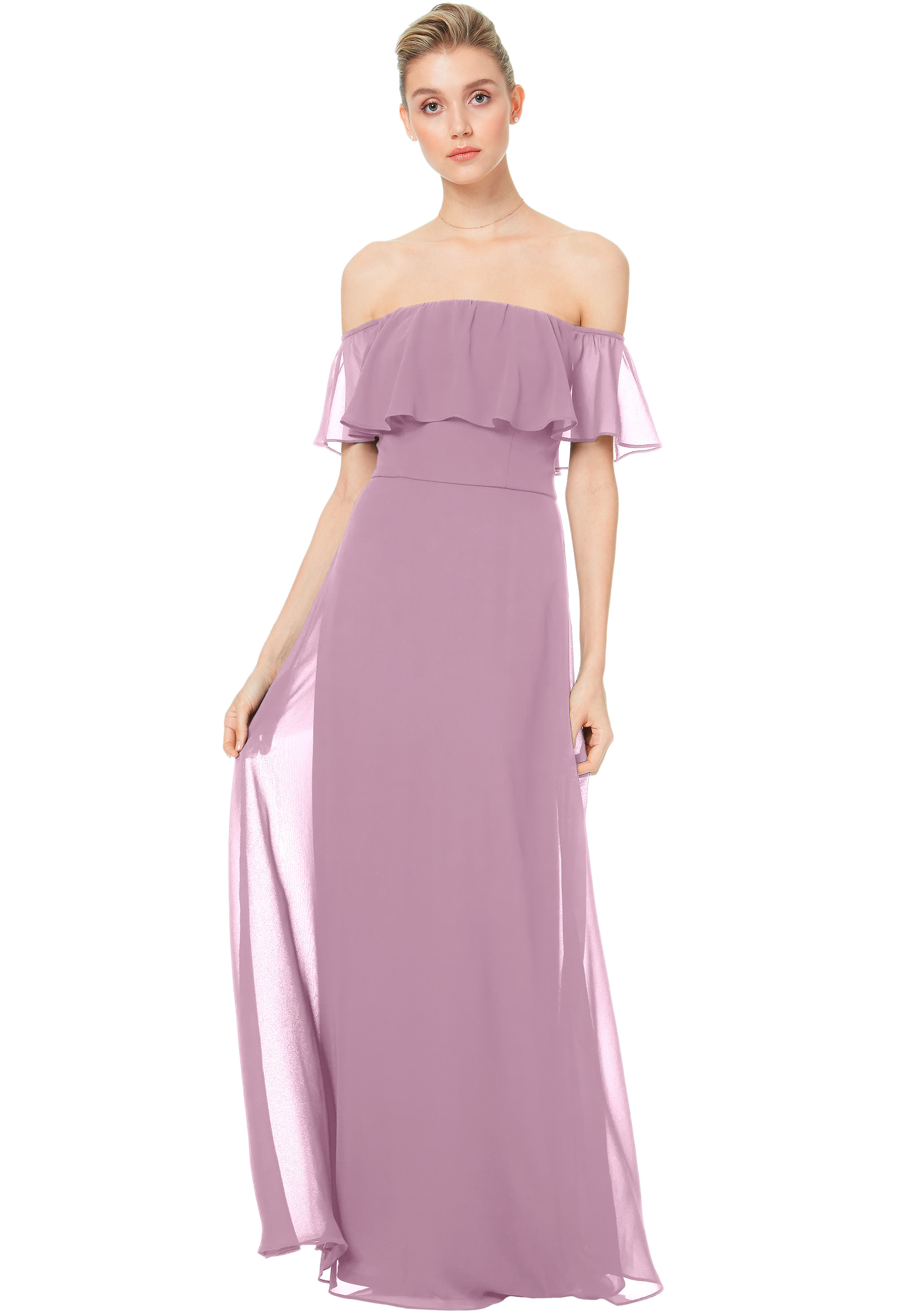 Bill Levkoff WISTERIA Chiffon Off The Shoulder A-line gown, $200.00 Front
