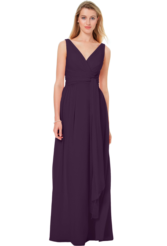 Bill Levkoff PLUM Chiffon Sleeveless A-line gown, $220.00 Front