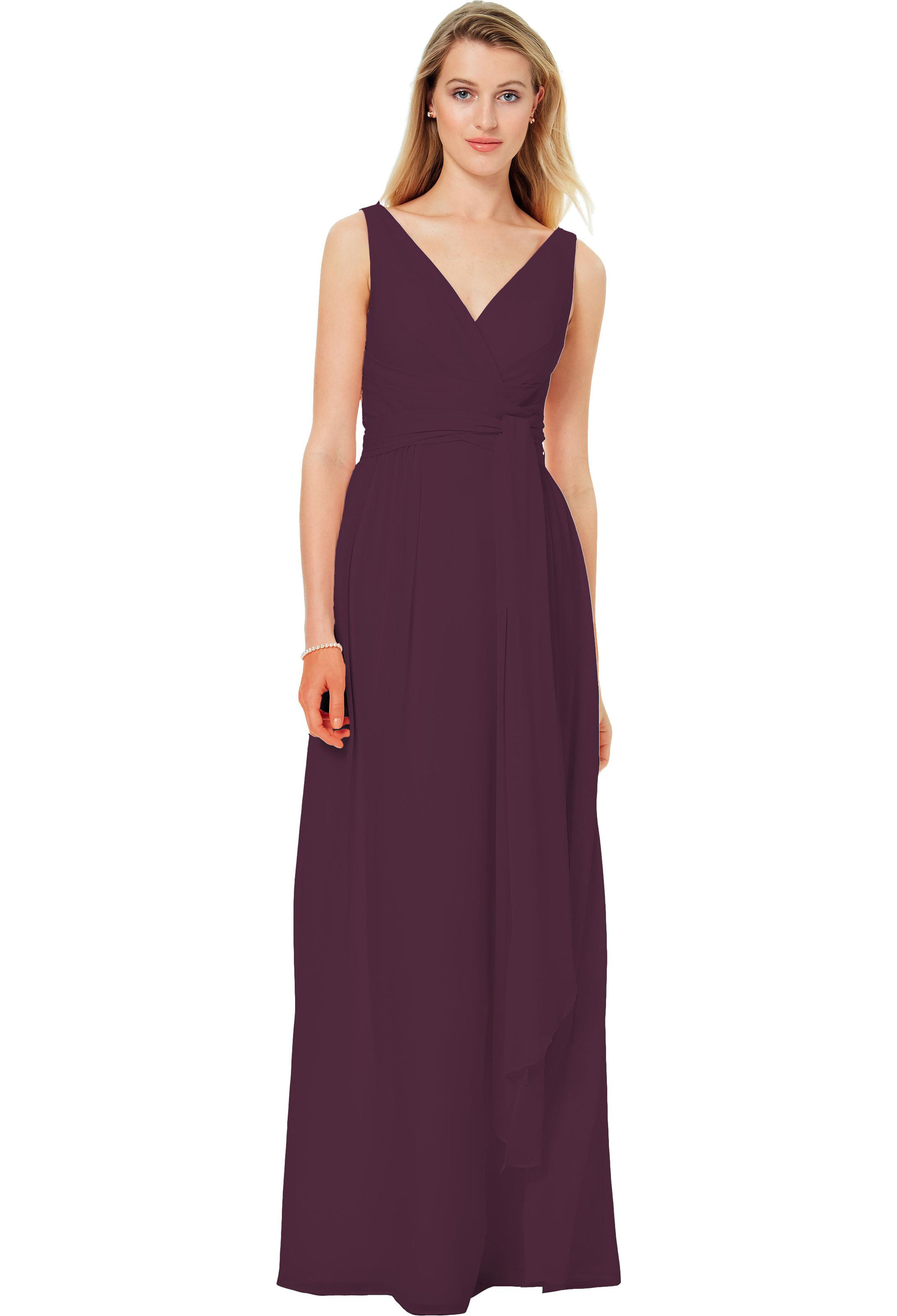 Bill Levkoff EGGPLANT Chiffon Sleeveless A-line gown, $220.00 Front
