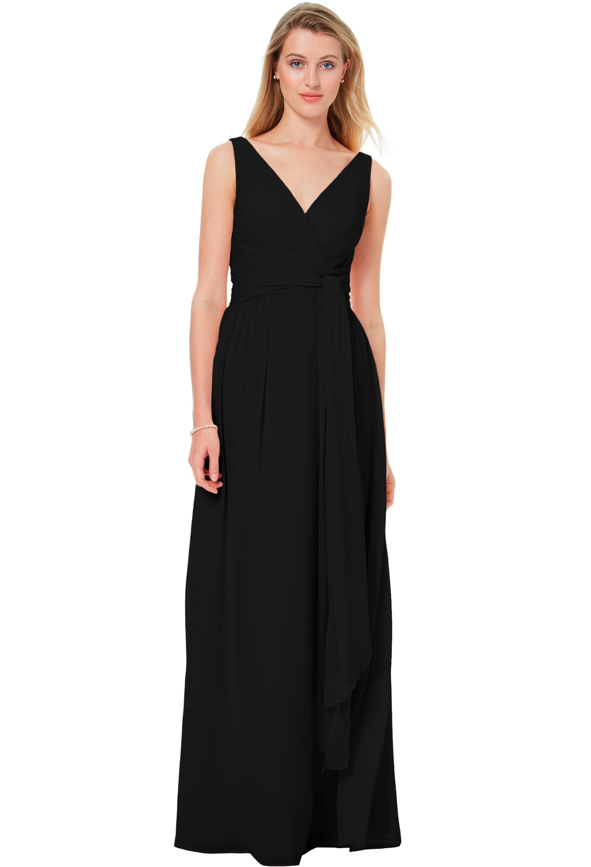 Bill Levkoff BLACK Chiffon Sleeveless A-line gown, $220.00 Front