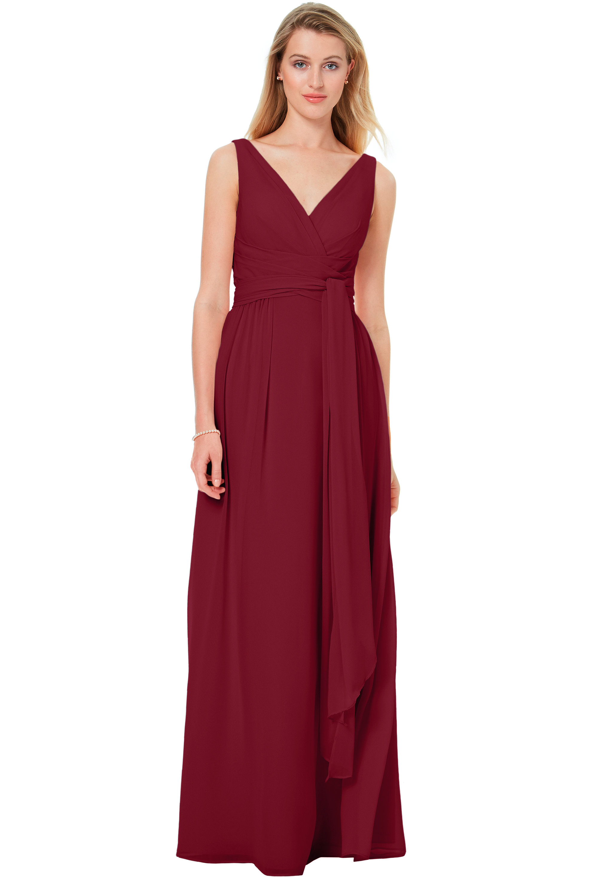 Bill Levkoff CRANBERRY Chiffon Sleeveless A-line gown, $220.00 Front