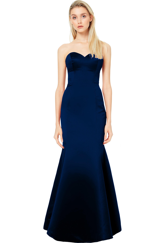 Bill Levkoff EURO NAVY European Satin Sweetheart Mermaid gown, $200.00 Front