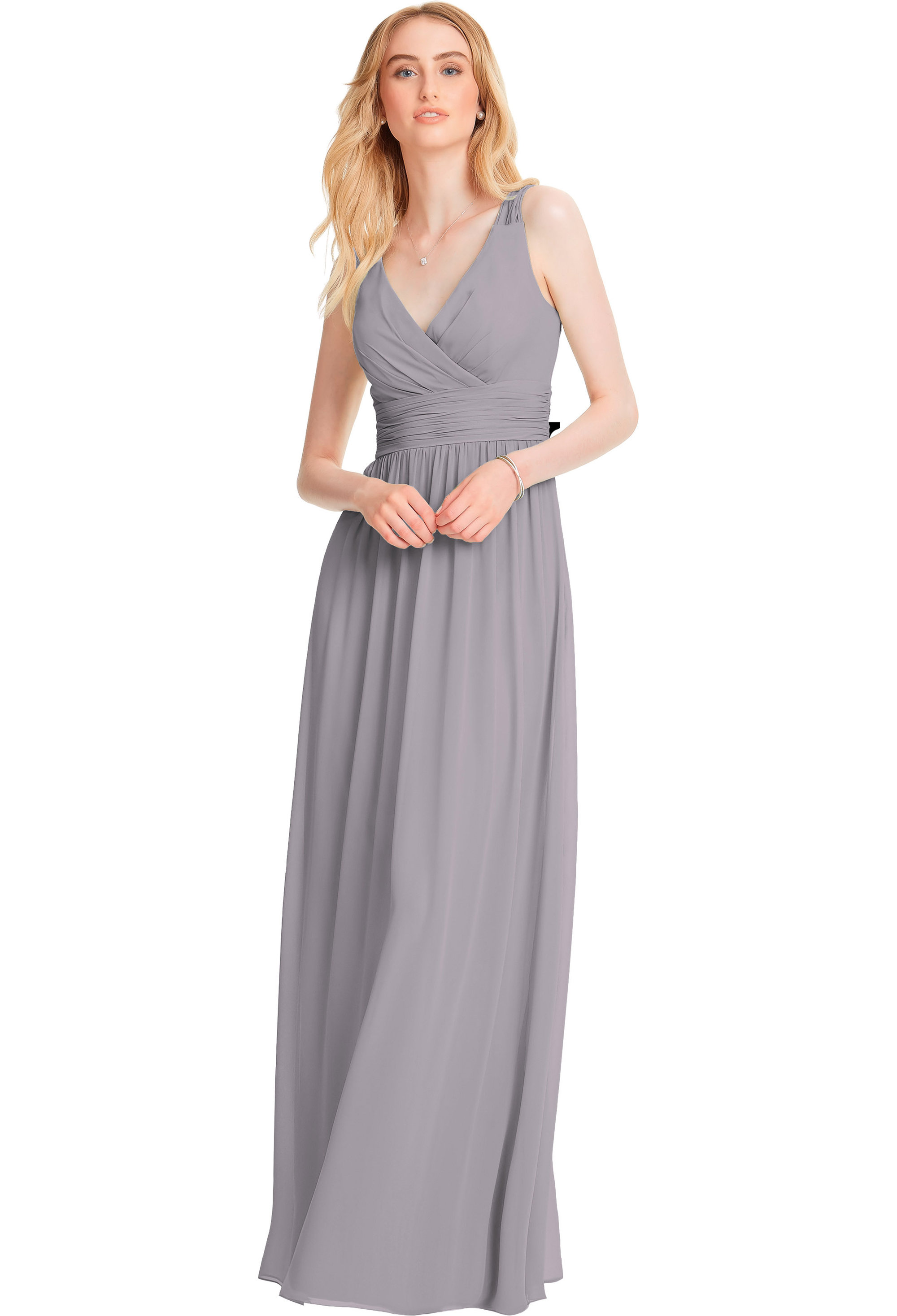 Bill Levkoff PEWTER Chiffon Sleeveless A-line gown, $200.00 Front