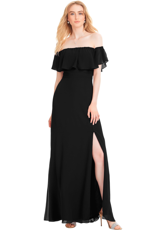 Bill Levkoff BLACK Chiffon Off The Shoulder Side Slit gown, $210.00 Front