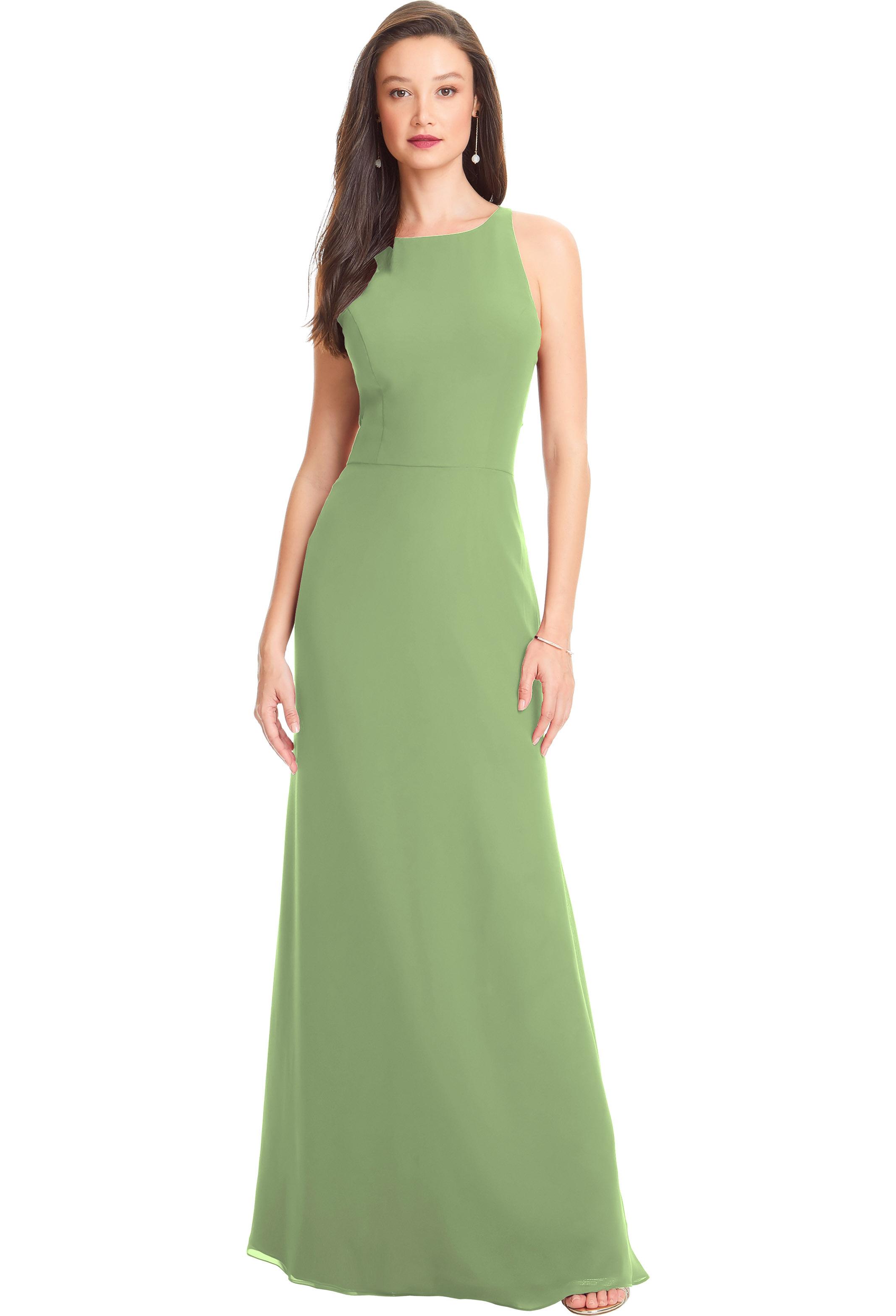 Bill Levkoff PISTACHIO Chiffon Sleeveless A-line gown, $210.00 Front