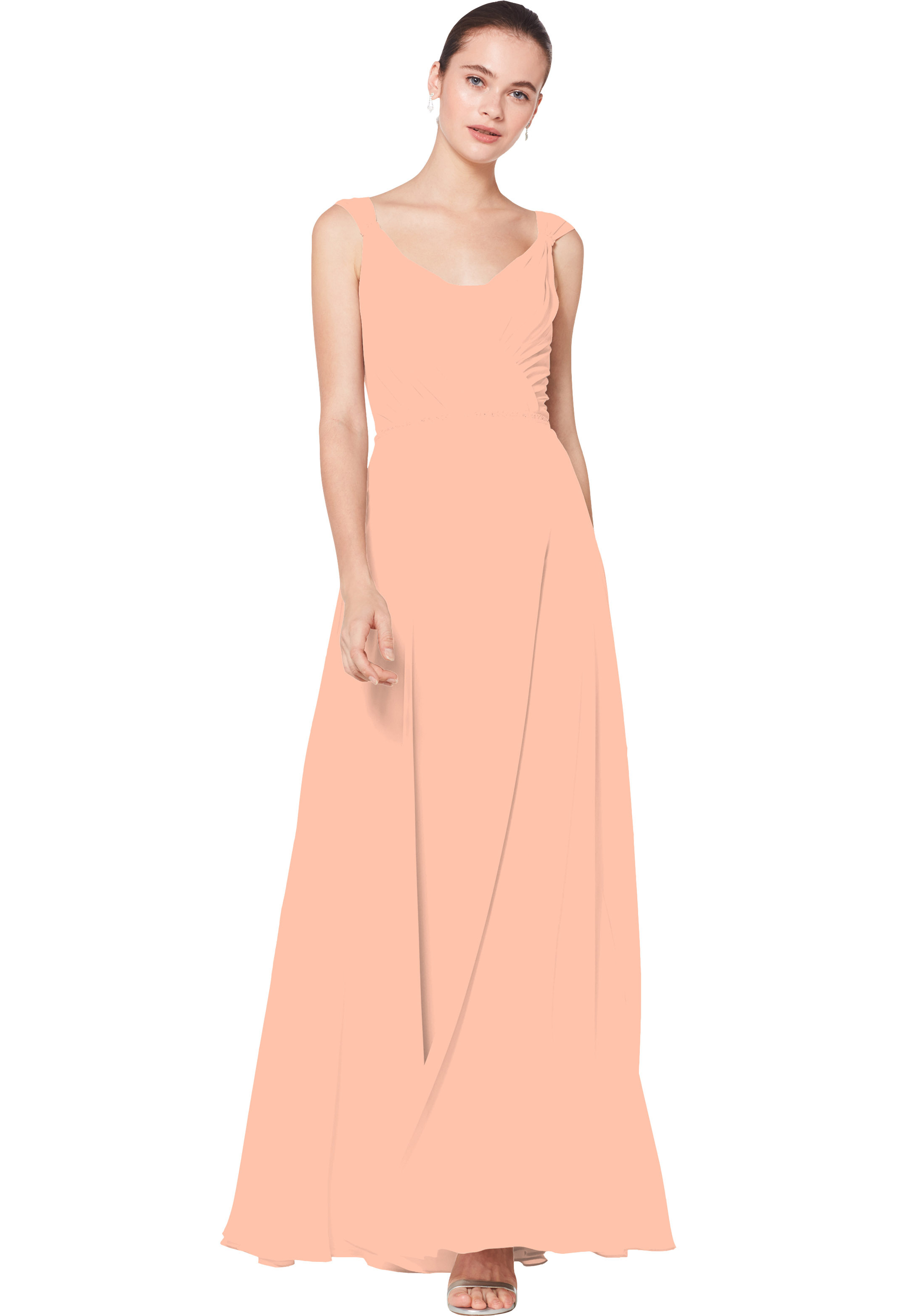 Bill Levkoff PEACH Chiffon Sleeveless A-line gown, $230.00 Front